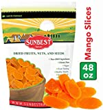 SUNBEST Dried Mango Slices 3 lbs in Resealable Bag, Kosher Certified