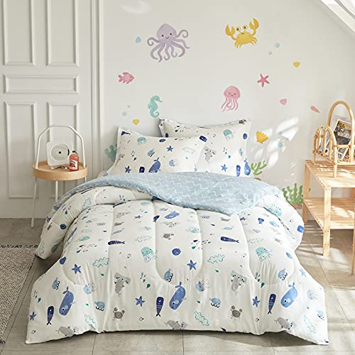 Joyreap 3pcs Premium Cotton Comforter Set for Kids Boys n Girls, Vibrant Ocean Theme Starfish Whale Crab Printed, Skin-Friendly Breathable Bedding Comforter for All Season (Twin, 68x88 inches)