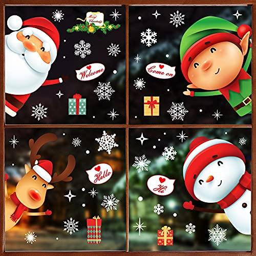 262 piezas de pegatinas para ventana de Navidad, 10 hojas de Navidad, copos de nieve, Papá Noel, muñeco de nieve de Papá Noel, reno,...