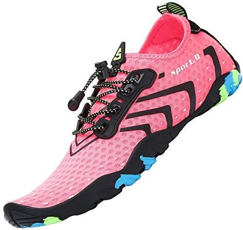 Zapatos de Agua Mujer Escarpines Piscina Verano Calzado Natacion Snorkel Respirable Zapatillas para Surf Rosa A 40 EU