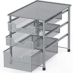 Simple Houseware Stackable 3 Tier Sliding Basket Organizer Drawer, Silver