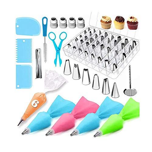 Xjtjsm Conjunto de decoración de pasteles de 72 piezas, herramientas para hornear, decoración de crema, bolso de pasteles, boquilla de decoración, bolsa de pastelería, boquilla de tubo liso esmerilado