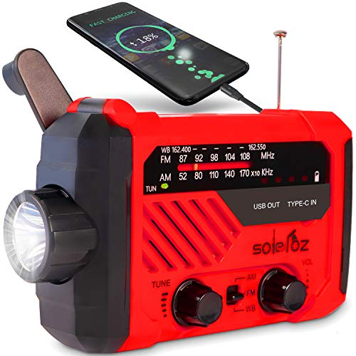 SOLELOZ NOAA Weather Radio with Battery Backup, and Flashlight. Powered by Hand Crank and Solar Panel. with USB Cell Phone Charger, Emergency SOS Alert, NOAA/AM/FM Radio. for Car kit, Camping or Home