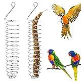 2 Piezas Titular Fruta Pájaro Titular de Fruta de Pájaro Comedero para Pájaros Colgante Comedero Pájaros Acero Inoxidable para Periquitos Cacatúas Guacamayos Conure Love Birds Pinzones Mynah