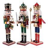 3 Piezas / 30 Cm estatuilla de Soldado Cascanueces de Madera Modelo decoración del hogar Adorno de Navidad decoración Adorno de muñeca
