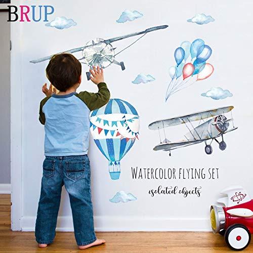 82 * 71 cm Aquarell Hand Gezeichnete Luftballons Wandaufkleber Flugzeug Kunst Vinyl Wohnkultur Für Kinderzimmer Bunte Wandtattoos