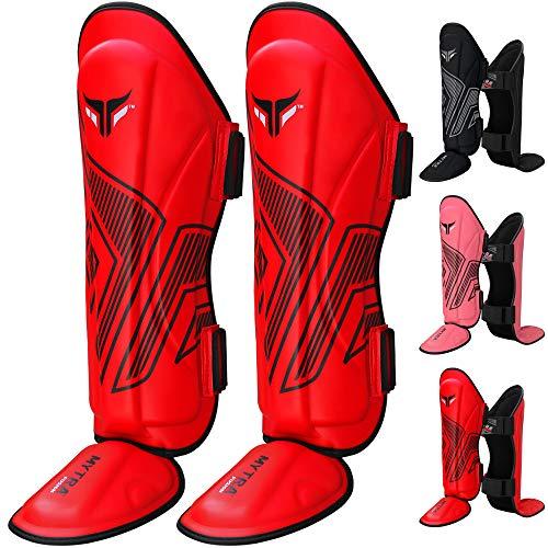 Mytra Fusion Adult Shin Pad, Shin Protector, Shin Guard for Boxing, MMA, Muay Thai, Martial Arts Training (Red, S/M)