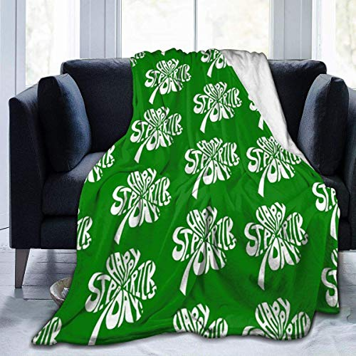 Nat Abra Happy St Patrick's Day Throw Blanket Warm Cozy Fluffy Blanket for Bed Sofa Couch Cover Black Throw Blanket
