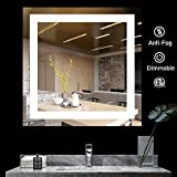 BATH KNOT Wall Mounted Smart Vanity Mirror with Lights - LED Square...