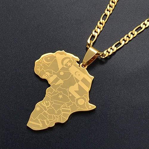 Collar Mapa de África de color dorado con colgante de bandera Collares de cadena Mapas africanospara mujeres y hombres