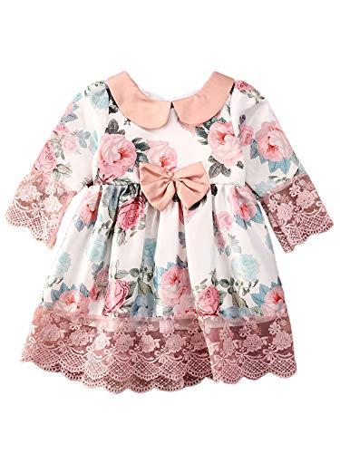 Carolilly Vestito da Principessa Cerimonia Elegante Abito Bambina Floreale Rosa in Pizzo Abiti per la Matrimonio Abito Battesimo Neonata Manica Lunga Abito Compleanno Ragazza (Rosa, 1-2 Anni)