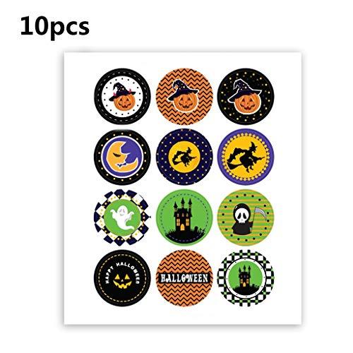catyrre 10pcs 120 Sticker Rund Halloween Pumpkin für Kinder, Halloween Dekoration Label Sticker Halloween Candy Bag Dichtungs Sticker Labels for Storage Bins