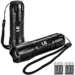 LE 2 Pack LED Torch, Waterproof IP65 200lm Handheld Flashlights, 6 AAA Batteries Included