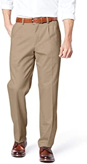 Men's Classic Fit Easy Khaki Pleated Pants