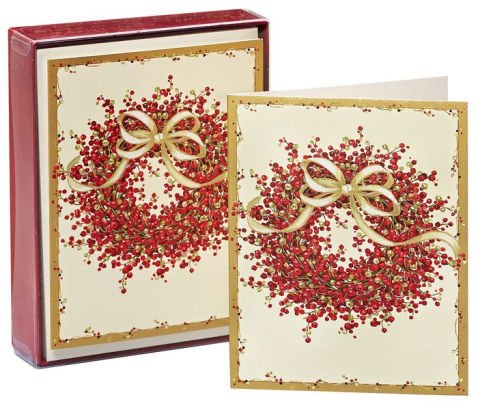 Caspari Pepperberry Wreath Boxed Christmas Cards - 15 Cards & 16 Envelopes