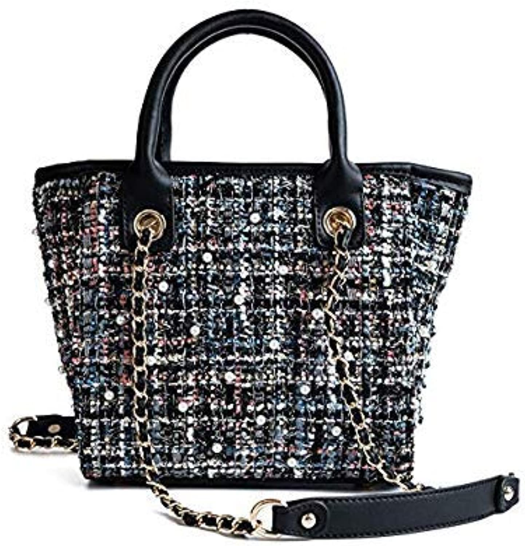 Bloomerang VOLESS Women Crossbody Bags Fashion Chain Tote Shoulder Handbags Casual Large Capacity Women Patchwork Bags New Arrival color Black 26cm11cm21cm