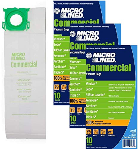 DVC Micro-Lined Paper Replacement Bags Fit Windsor Sensor Models S12, S15, SRS12, SRS15, SRS18, XP12, XP15, XP18, 30 Bags