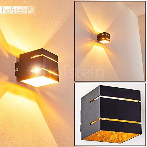 Wandlampe Varco aus Metall in Schwarz/Gold mit Schlitzen, moderne Wandleuchte mit Lichteffekt, 1 x G9-Fassung, max. 28 Watt, Cube/Innenwandleuchte mit Up & Down-Effekt, geeignet für LED Leuchtmittel
