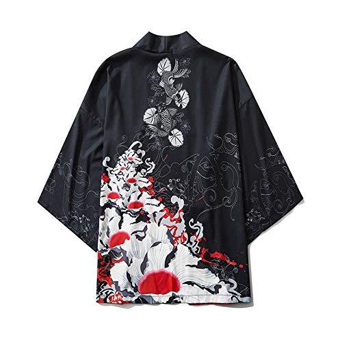 N/ A Ola De Mar Japonés del Ukiyo-e Imprime La Carpa Kimono Camisa De La Túnica De La Manga Recortada RZTZDM (Color : Black, Size : XL)