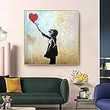 SHKJ Graffiti Art Painting Banksy Girl con Globo Pintura sobre Lienzo Impresión de Arte de Pared Póster Calle Imagen Moderna para decoración del hogar 80x80cm / 31.5'x31.5 Sin Marco