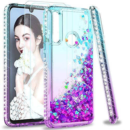 LeYi für Huawei P Smart Z Hülle Glitzer Handyhülle mit Panzerglas Schutzfolie(2 Stück), Diamond Cover Bumper Schutzhülle für Hülle Huawei P Smart Z Handy Hüllen Türkis Lila