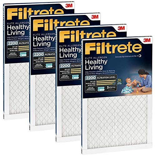 3M MPR 2200 4-Pack Air Filtrete Filter Reduces Airborne Dust, Allergens, Bacteria & Viruses. Healthy & Elite Allergen Reduction HVAC Filter, Delivers Cleaner Air Throughout Homes (16' x 20' x 1')
