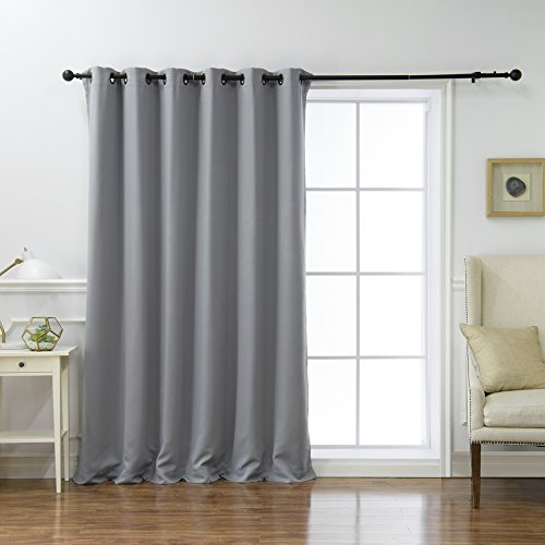 """Best Home Fashion Wide Width Thermal Insulated Blackout Curtain - Antique Bronze Grommet Top - Grey - 80"""" W x 84"""" L - (1 Panel)"""
