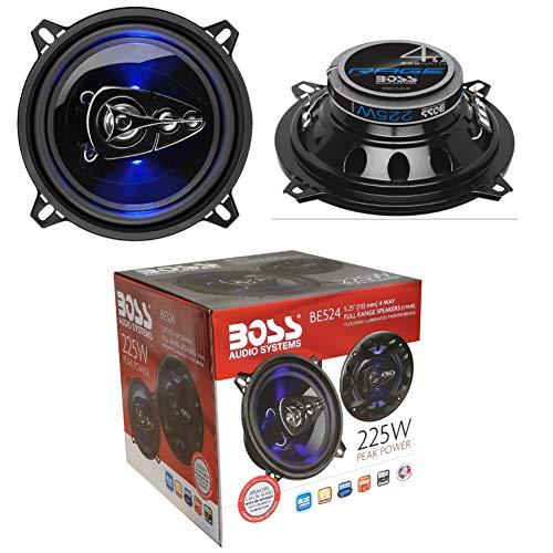 2 Altavoces Compatible con Boss Audio Systems BE524 BE 524 coaxial de 4 vías 5,25' 13,00 cm 130 mm 112 vatios rms 225 vatios máx 4 ohmios 90 db con led azu y suspensión de Goma, un par