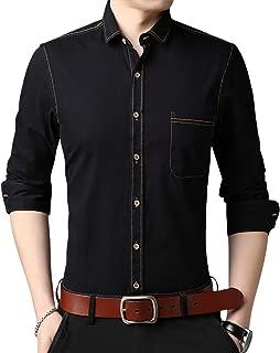 Womleys Mens Long Sleeve Casual Denim Work Shirt Button Down Shirts