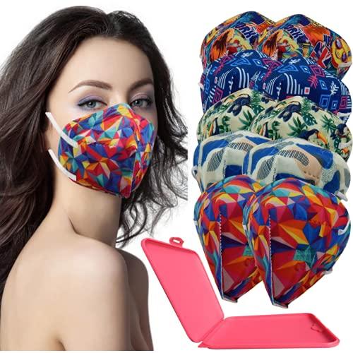 MVT - 10x Mascarilla Protectora FFP2 NR Adulto 5 capas Estampados Variados + Mask Case color aleatorio