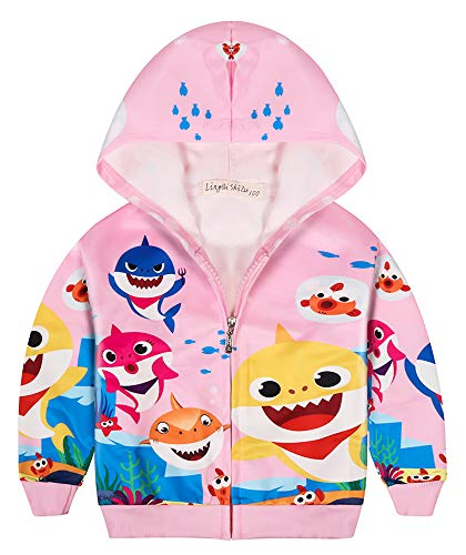 AOVCLKID Toddler Girls Baby Princess Outerwear Shark Cartoon Print Coat (Pink,120/4-5Y)