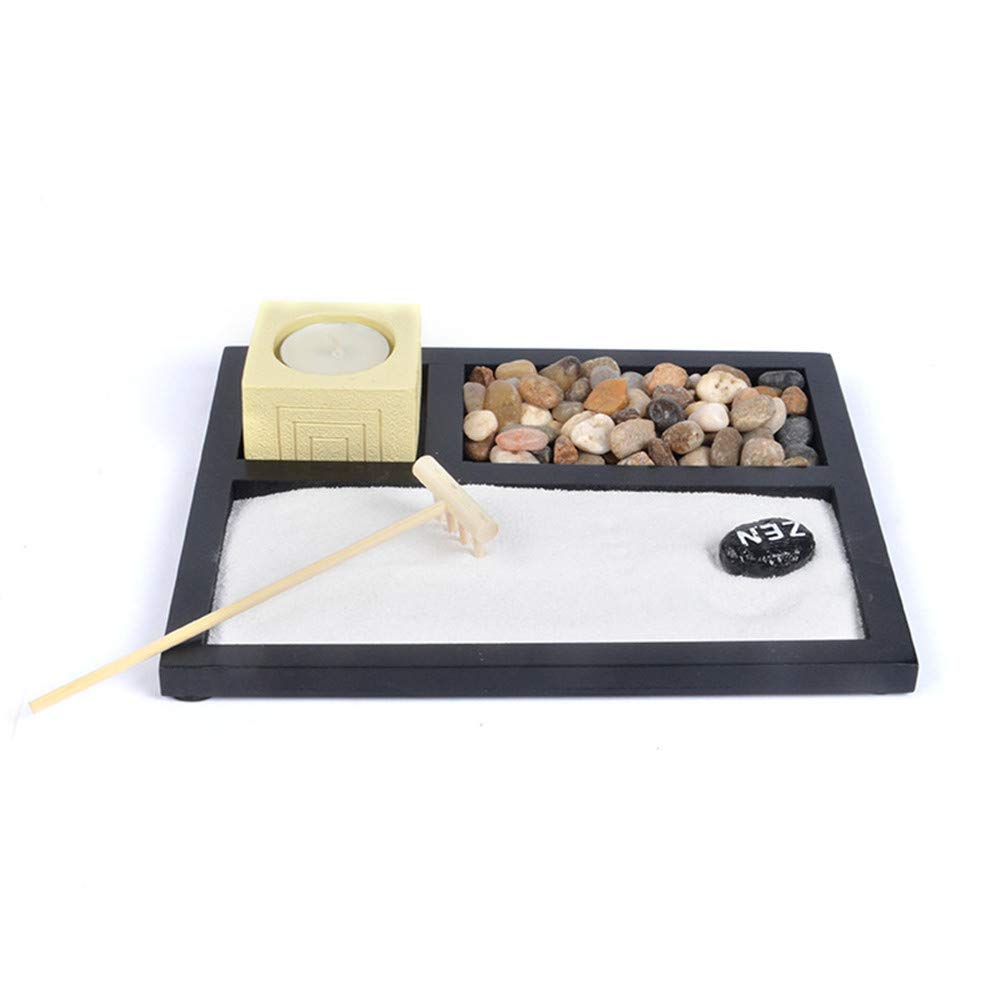 Vimeka - Juego de rastrillos para jardín Zen de mesa, arena y rocas, para jardín Zen, Jardín Zen 01, Negro: Amazon.es: Juguetes y juegos