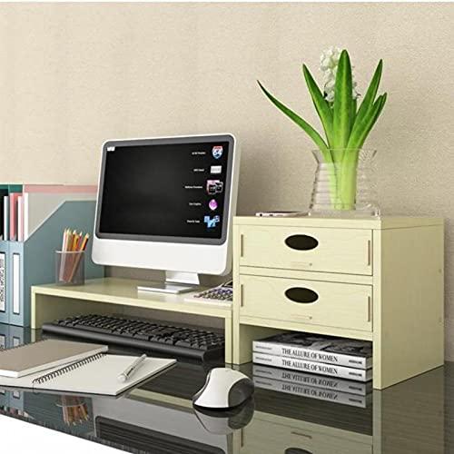Monitor De Madera Stand Riser,Elevador De Pantalla De Ordenador,Organizador De Escritorio Multifuncional,Soporte De Monitor Ergonómico De Escritorio-A 1 nivel+gabinete