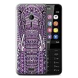 eSwish Gel TPU Hülle/Hülle für Nokia 230 / Elefant-Lila Muster/Aztec Tier Muster Kollektion