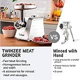 Twinzee - Elektrischer Fleischwolf mit Wurstfüller 1500W, Weiß - Für Fleisch und Wurst - Küchenmaschine, Fleischwolf mit 3 Lochscheiben und 3 Wurstaufsätze - 5