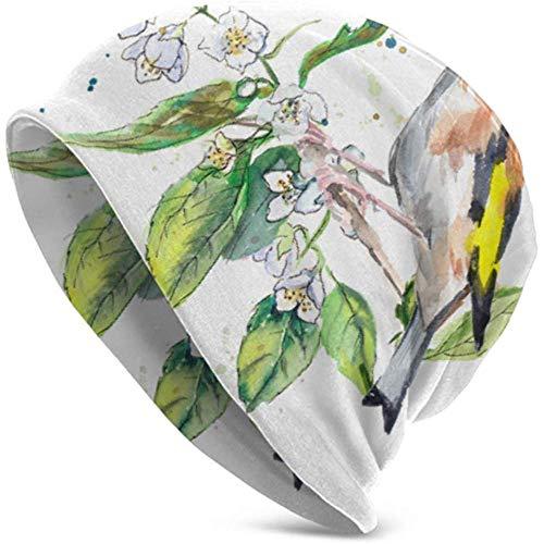 Sombreros Beanie Jilguero Ramita Bird Construye Nido Gorro Holgado Gorro Gorros Resistentes y Resistentes Gorro elástico Suave Todo el año Comodidad