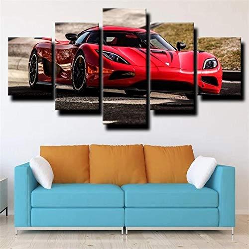 45Tdfc Lienzo de Pared Art Imagen para decoración del Coche Deportivo Koenigsegg Act R Red Car 5 Piezas Pinturas Moderna Estirada Enmarcado Arte Aceite