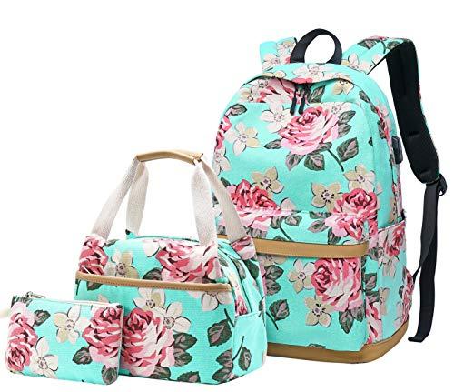Schulrucksack Mädchen Teenager Damen Schultasche Canvas Schulranzen Set Blumen Rucksack für Mädchen Schule Freizeit mit Lunchpaket Tasche und Mäppchen (3 in 1 Blau)