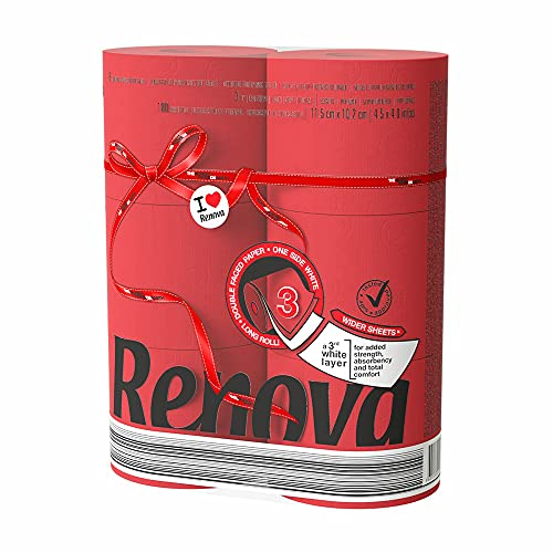 Renova Luxury Scented Colored Toilet Paper 6 Jumbo Rolls 3-Ply-180 Sheets Red, 1 Count (Pack of 1)...
