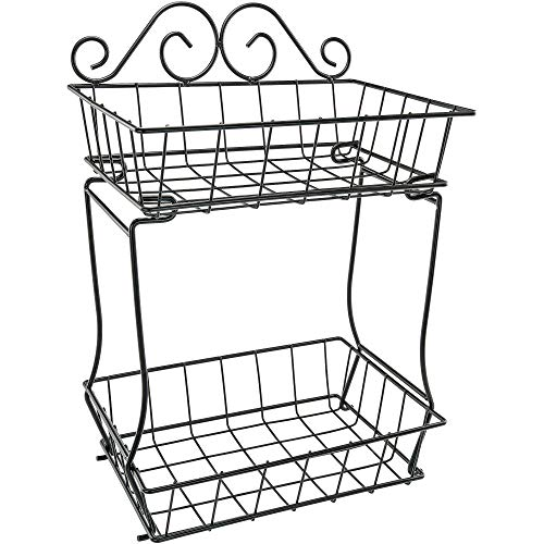 Southern Homewares 2 Tier Fruit Bread Basket Metal Wire Storage Rack Display No Tools Easy Assembly Screw Free Design