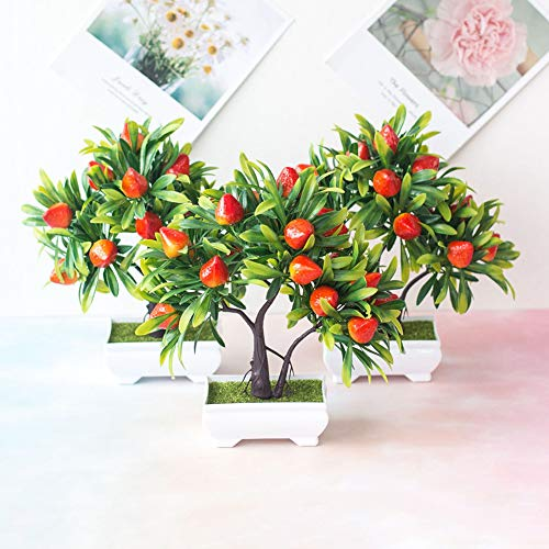 WskLinft 1Pc Artificial Flowers, Lifelike Artificial Fruit Strawberry Tree Bonsai, Indoor Outside Greenery Plant for DIY Home Kitchen Office Wedding Garden Christmas Table Decor Strawberry
