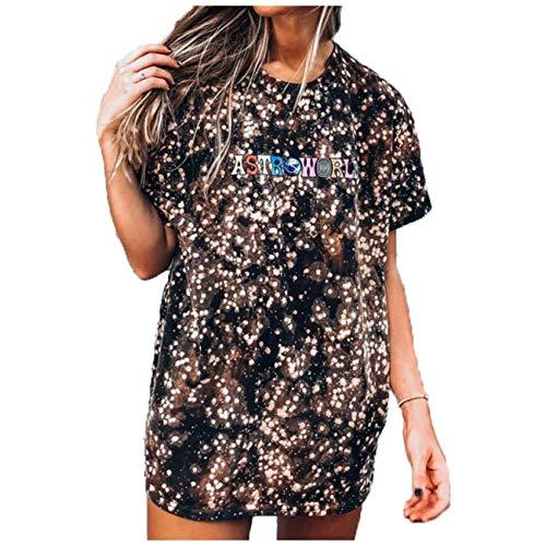 Wsgyj52hua 2021 Primavera Y Verano Nueva Camiseta Femenina De Manga Corta Suelta con Estampado De TeñIdo Anudado De Estilo Europeo Y Americano
