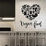 HFDHFH Etiqueta de la Pared de Comida Vegetariana Texto Saludable Vegetariano Vinilo Ventana Pegatina Creativo en Forma de corazón Mural Cocina Restaurante decoración