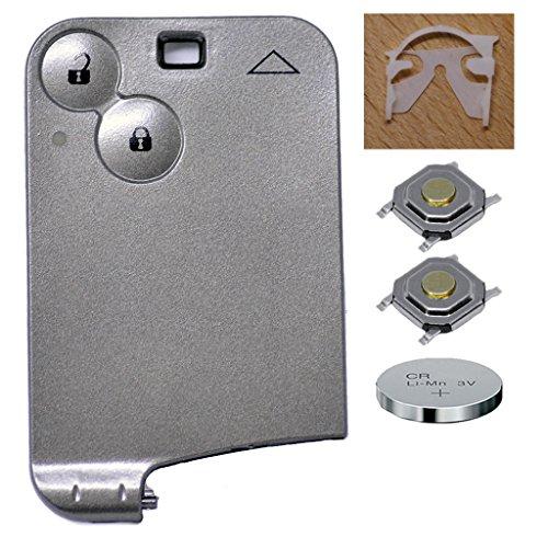 Auto Schlüssel Funk Fernbedienung 1x Keycard Gehäuse 2 Tasten + 1x CR1620 Batterie + 2X Mikrotaster kompatibel mit Renault