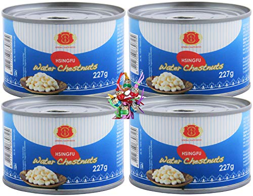 yoaxia ® - [ 4x 227g / 140g ATG ] Spring Happiness Wasserkastanien ganze Knollen / Water Chestnuts peeled + ein kleines Glückspüppchen - Holzpüppchen