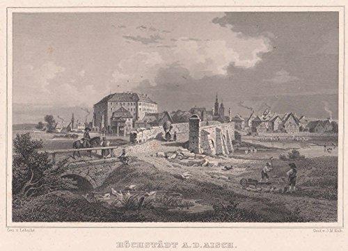 Höchstadt an der Aisch - Schöne Ansicht mit der mittelalterlichen Aischbrücke und dem Stadtschloss. [Grafik]