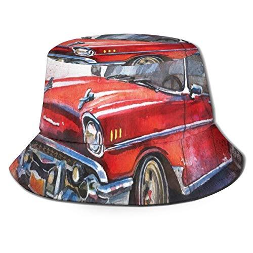 Henry Anthony Unisex Fisherman Cap, handgezeichnetes altmodisches Auto antikes Kraftfahrzeug Retro veraltete abstrakte Kunst, Travel Beach Hat