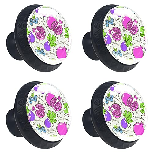 4 boutons d armoire poignées de tiroir en verre cristal,fruit collection promegramate blueberry fig,pour porte cuisine bureau commode