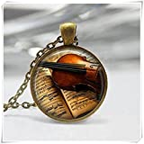 Geigen-Glas-Anhänger, Instrumenten-Schmuck, Musik-Halskette, Violinen-Charm, Geschenk für Musiker