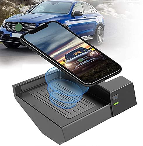 Almohadilla de cargador inalámbrico para automóvil para Clase C GlC 2015 2016 2017 2018 2019 2020, 10W Qi Cargador de teléfono antideslizante de carga rápida Panel de accesorios de consola central